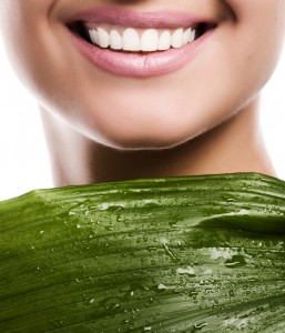 smile with green leaf